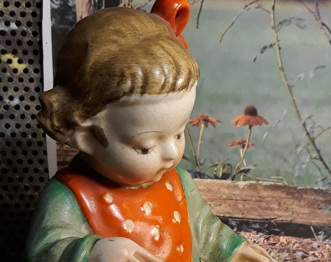 Antique 1940's little girl reading red Made In Japan mark