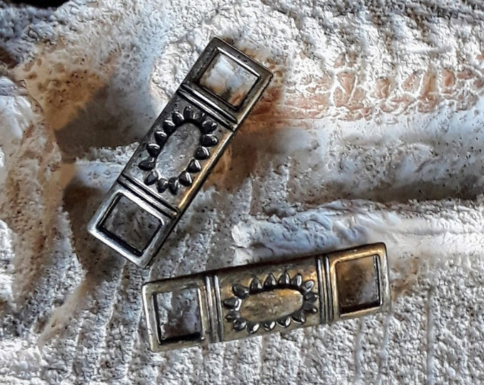 boho hippie links or connectors aged silver tribal elongated sun design 2 pc