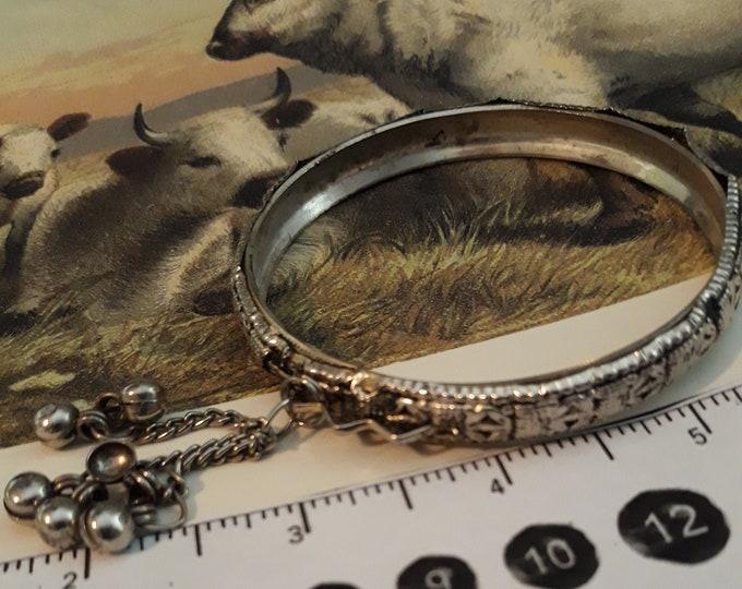 Vintage Boho charm bangle bracelet silver tone