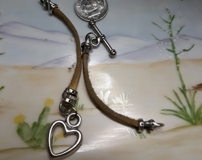 CLEARANCE >>>Salvaged bracelet with open heart charm dangle