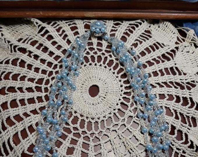 Pristine vintage 1950's multi-strand beaded necklace Japan Estate Sale find