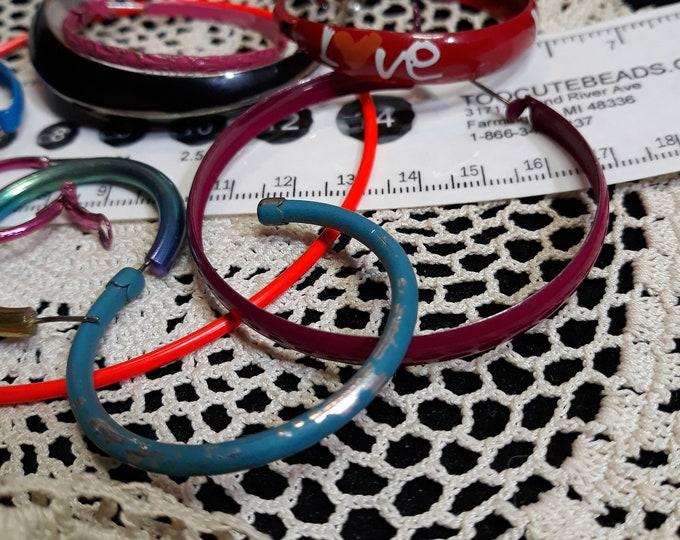 Salvaged Enamel circle earring singles lot