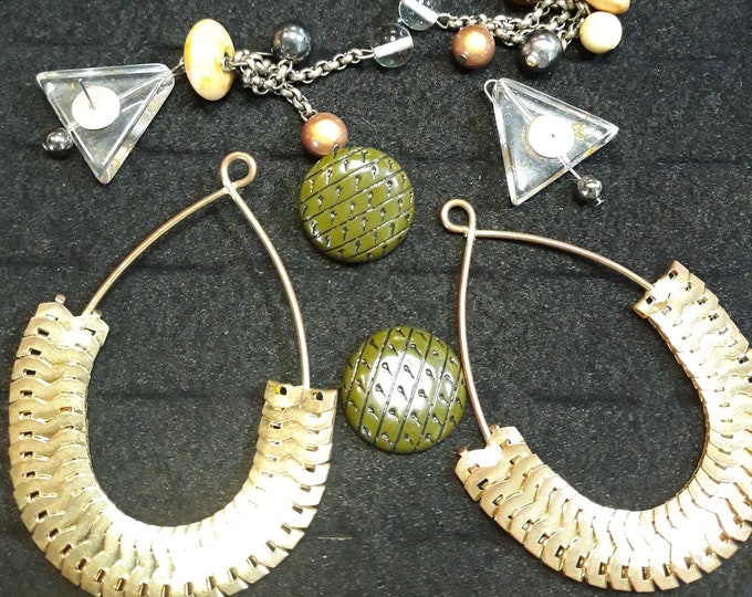 Vintage Boho salvaged earring lot crafting repurpose