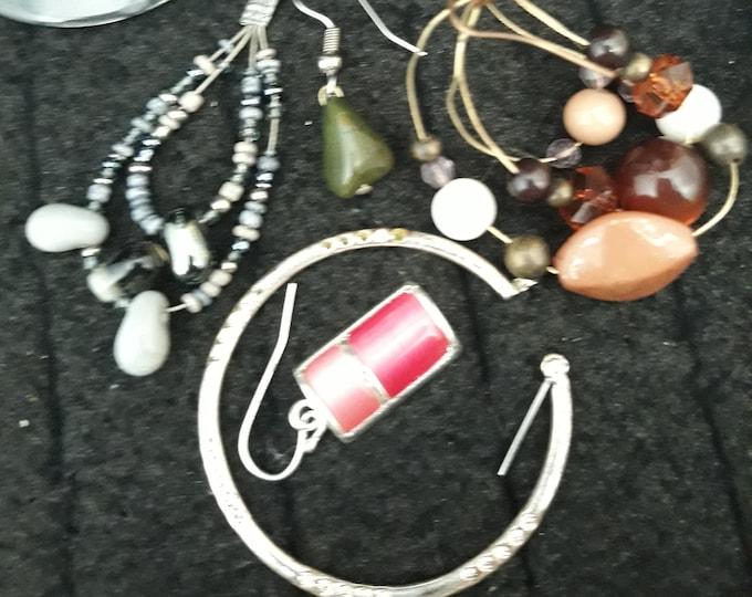 Lot of Boho single odd earrings, Bohemian dangle drop earrings, Gypsy jewelry, art and crafts supply, embellishments