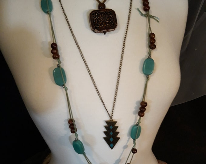 Hippie jewelry, 3 boho necklaces, retro necklace lot, turquoise blue - gifts for her