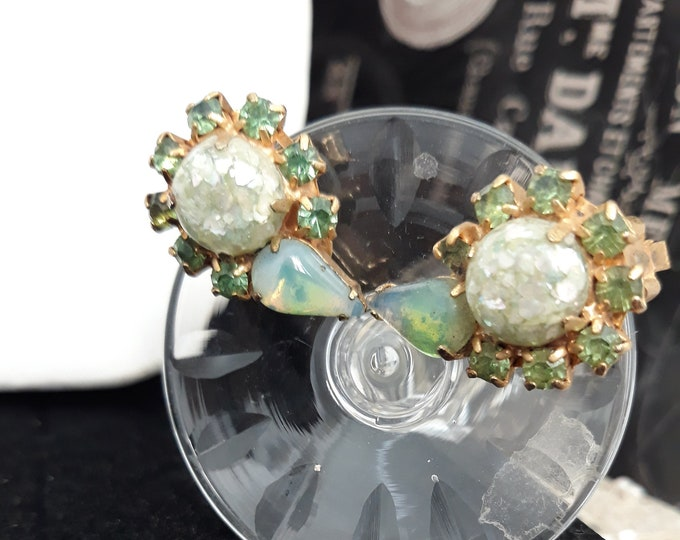 Breathtakingly beautiful green rhinestone Antique clip-on earrings, confetti cabochon and moonstone