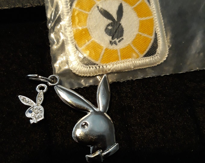 Vintage Playboy Bunny trio patch, pendant and rhinestone charm collectibles