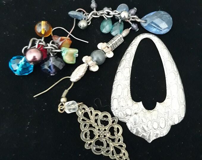 Lot of Boho Hippie single odd earrings, Bohemian dangle drop earrings, Gypsy jewelry, Boho fashion, arts and crafts supply, embellishments