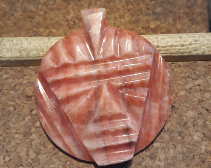 Vintage stone pendant Aztec carved orange alabaster Tribal jewelry
