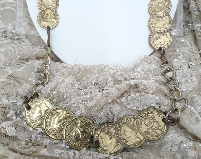 1960's vintage faux coin necklace in gold tone