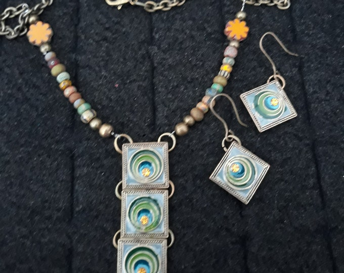 Unusual articulated rhinestone pendant with matching earrings, One of a kind handmade jewelry set