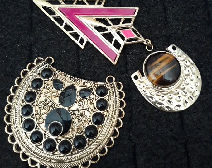 Unusual gold tone Tribal pendants for necklaces, repurposed pendant lot