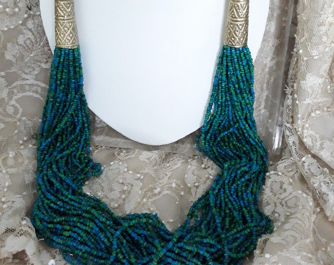 Vintage seed bead necklace, gift for mom, Boho, Hippie, unusual jewelry