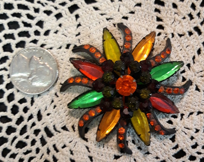 Reserved for Judy Very unusual dark colored rhinestone brooch, Rhinestone craft Adornments, Brooches for picture frame art, Embellishments