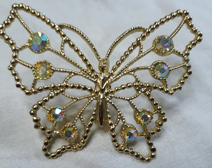 Reserved for Judy aurora borealis butterfly brooch, Rhinestone craft jewelry, Adornments, Brooches for picture frame art, Embellishments