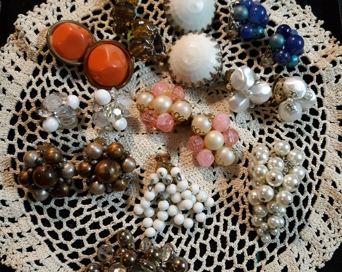 Unique vintage cluster earring lot with milk glass and crystals, Made in Japan