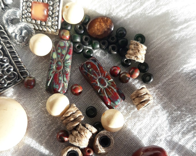 Great Vintage beads with Picassos  and assorted crafting jewelry, Vintage jewelry lot, jewelry pieces, repurposed jewelry, salvaged jewelry