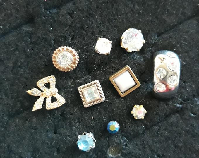 VINTAGE Rhinestone singles crafting lot, vintage rhinestone harvest jewelry, rhinestone craftr supply