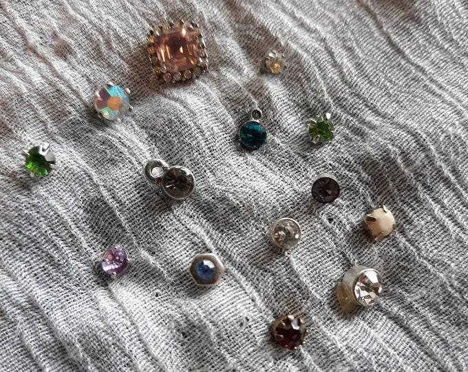 Vintage rhinestone stud single earring lot, embellishment, craft rhinestones, salvaged rhinestone studs