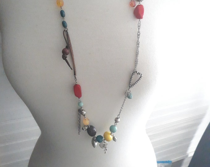 Estate Boho Hippie mixed chain necklace with beads and dangles