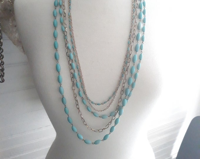 Estate Vintage Hippie  turquoise rosary bead and chain necklace