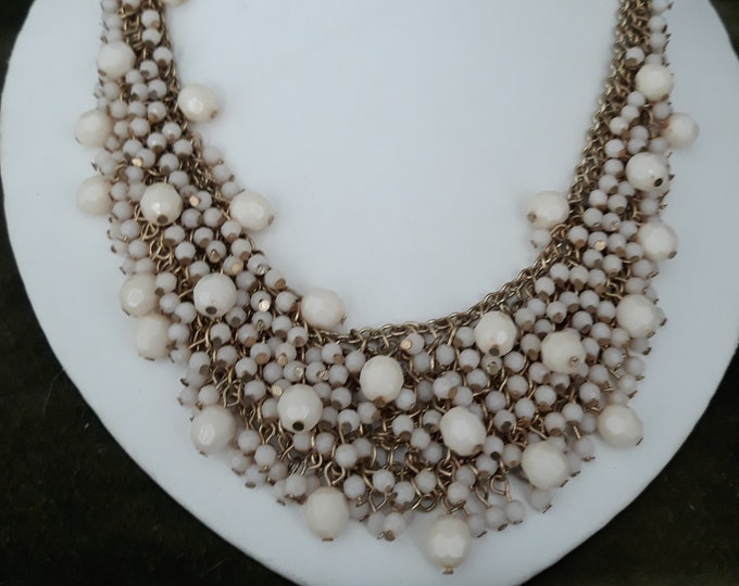Gorgeous retro chainmaille bib necklace with beads