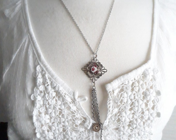 Floral Handmade Boho Hippie rhinestone pendant necklace, One of a kind handmade unique necklace affordable