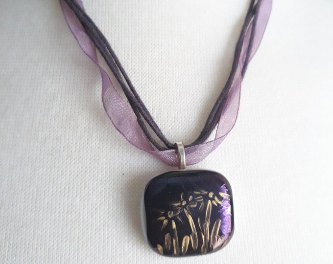 Handmade Boho purple irredescent pendant necklace, One of a kind handmade unique necklace affordable