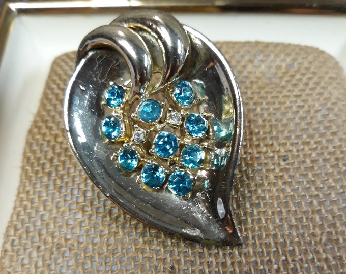 FIERY Mid century vintage brooch with rhinestone, Adornments, Brooches for picture frame art, Embellishments
