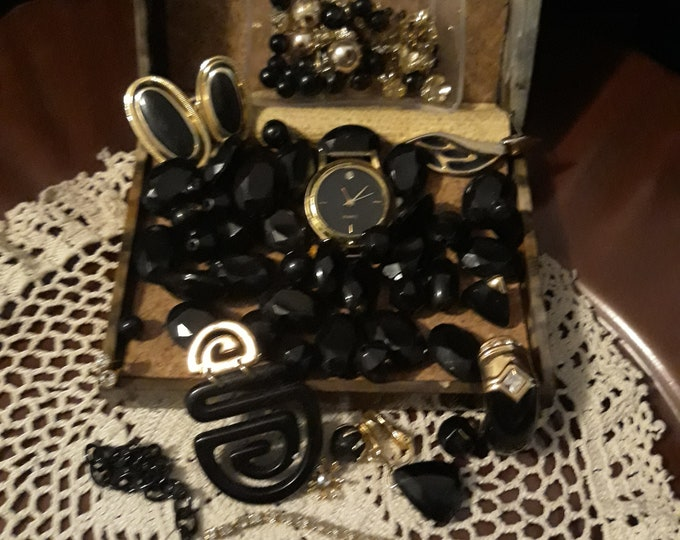 Vintage assorted crafting jewelry with watch, Vintage  repurposed jewelry lot, craft jewelry, junk jewelry