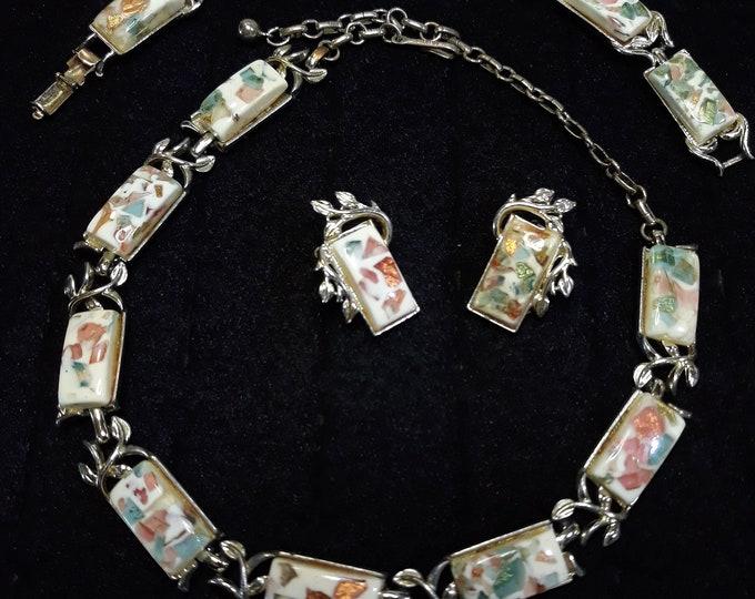 Gorgeous parure Coro 1950's confetti jewelry set
