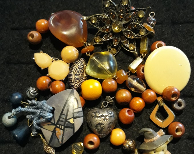 Vintage Thanksgiving crafting jewelry with brooch, Vintage mixed media jewelry lot, Crafting jewelry, jewelry pieces, repurposed jewelry