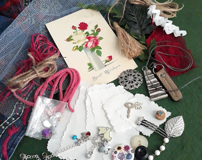 Junk journal craft lot, Junk journal components, Floral Junk journal starter kit