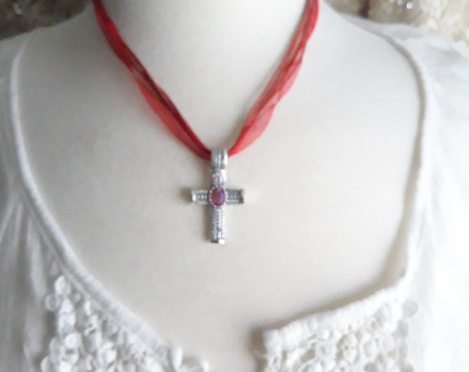 Handmade Boho Hippie rhinestone cross pendant necklace, One of a kind handmade unique necklace affordable