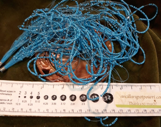 Turquoise blue seed bead multi-strand necklace for repurpose