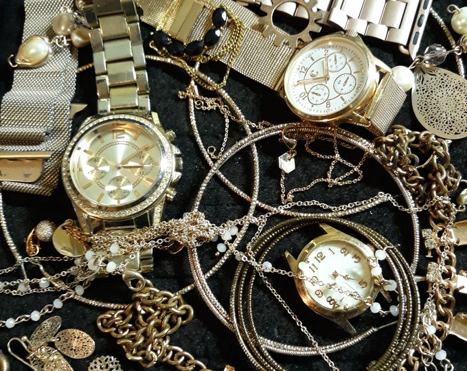 Assorted rose gold crafting jewelry with 3 watches, mixed media jewelry, Crafting jewelry, jewelry pieces, repurposed jewelry