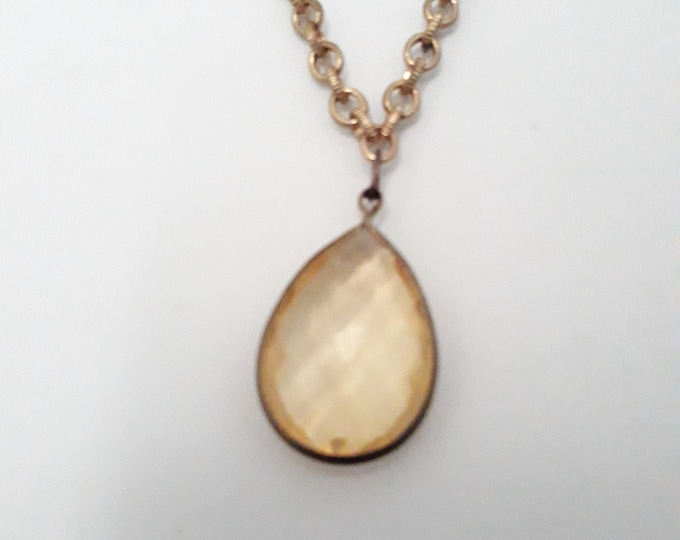 Pretty faceted acrylic pendant gold tone necklace, One of a kind handmade unique necklace affordable