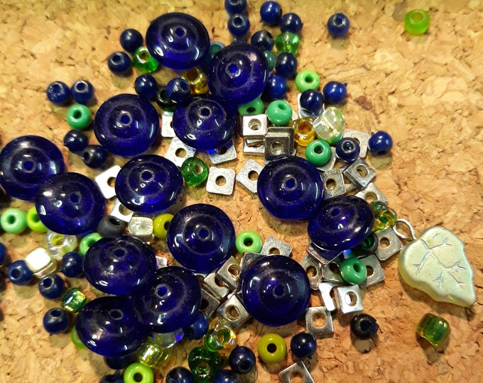 Cobalt saucer beads and seed beads mixed lot, junk jewelry, mixed bead lot, jewelry pieces, repurposed jewelry, salvaged jewelry