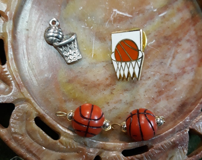 Vintage Craft lot of salvaged jewelry components, jewelry making or craft, repurpose jewelry for art, basketball