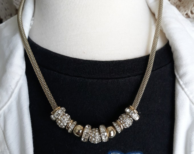 Charming Chico's vintage rhinestone necklace, wedding jewelry, BLING!