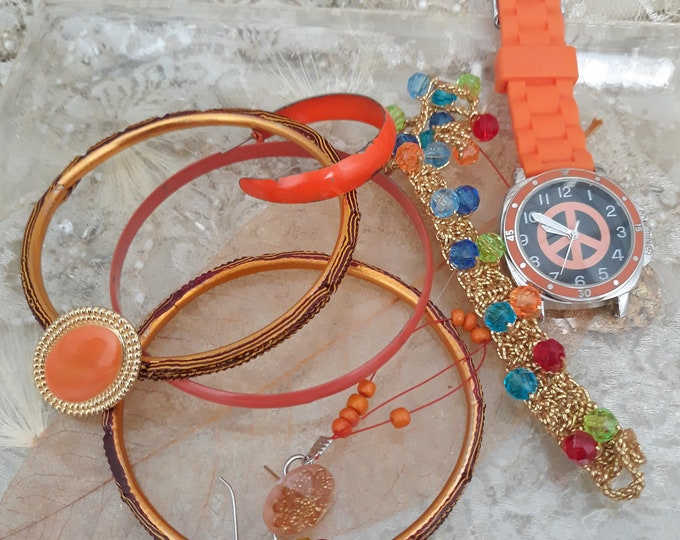 Crafting jewelry supply lot, repurpose jewelry pieces, orange jewelry salvage, Hippie jewelry, Bohemian style