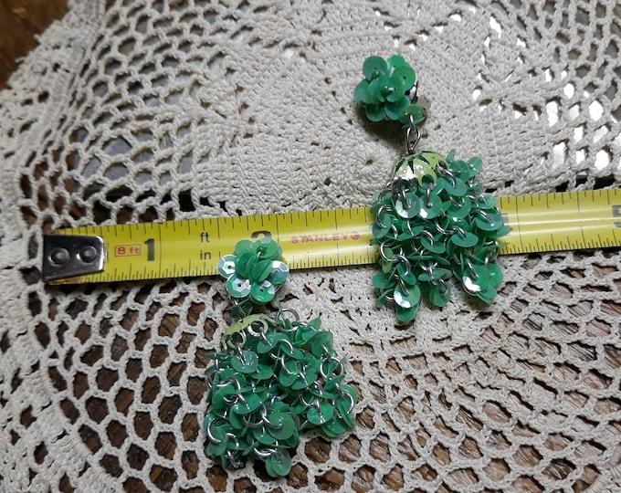 Funky vintage sequins clip-on earrings Hong Kong