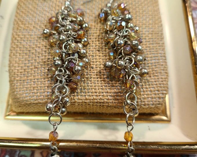 Dangle Vintage Boho pierced dangle earrings, Beaded dangle Boho dangle pierced earrings, gift for her, under 10, vintage costume jewelry