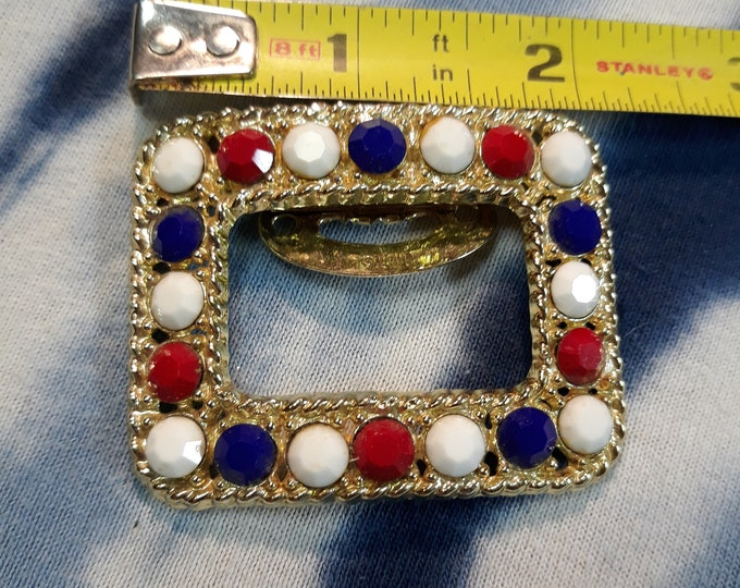 Huge vintage 1970 rhinestone red white blue dress clip, jewelry art, mini picture frame art, craft supply
