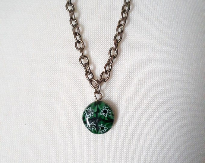 Green Millifiori glass One of a kind handmade unique necklace affordable, under 5, gift exchange