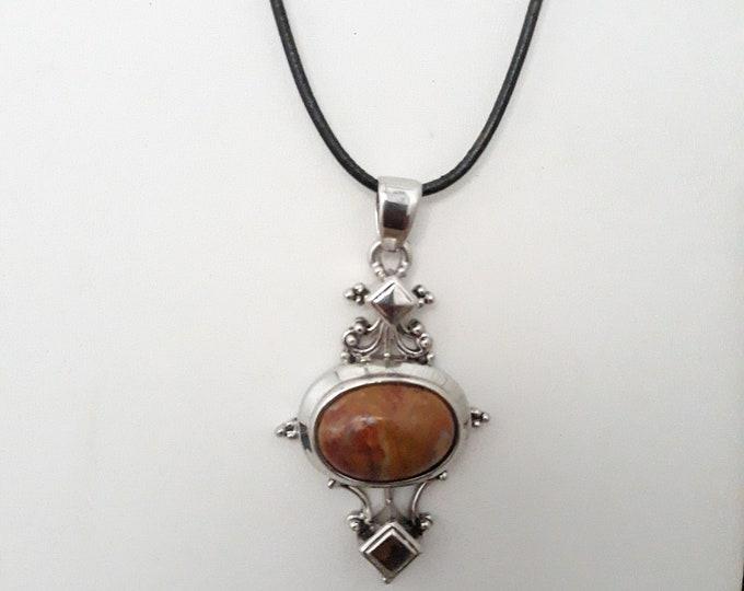 Jasper pendant necklace, One of a kind handmade unique necklace affordable