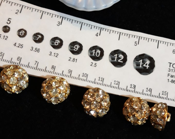 Gold tone vintage rhinestone button lot