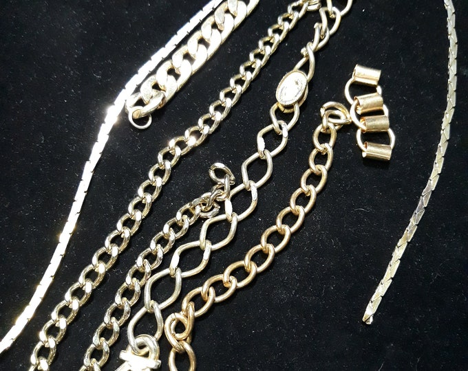 Salvaged lot of gold tone chain pieces crafts jewelry