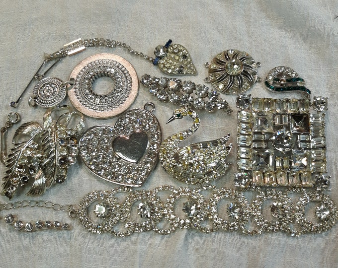 Brilliant Vintage rhinestone craft jewelry with brooches, Vintage mixed media jewelry lot, Vintage repurpose jewelry, salvaged jewelry lot