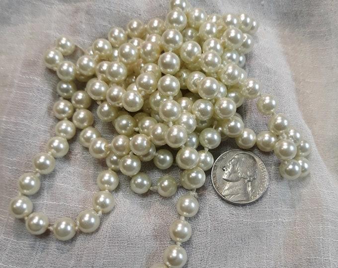 8 mm Vintage glass pearl strand, wedding decoration pearls, craft supply